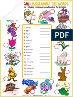 Easter Holiday Vocabulary Esl Unscramble the Words Worksheets for Kids