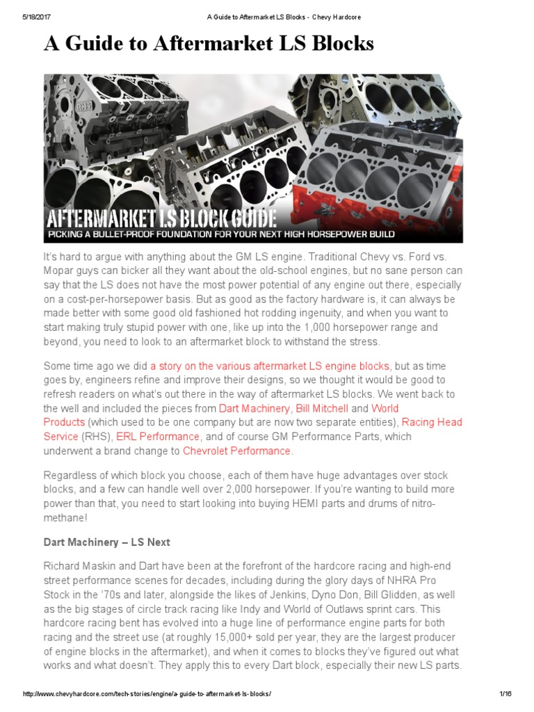 a guide to aftermarket ls blocks