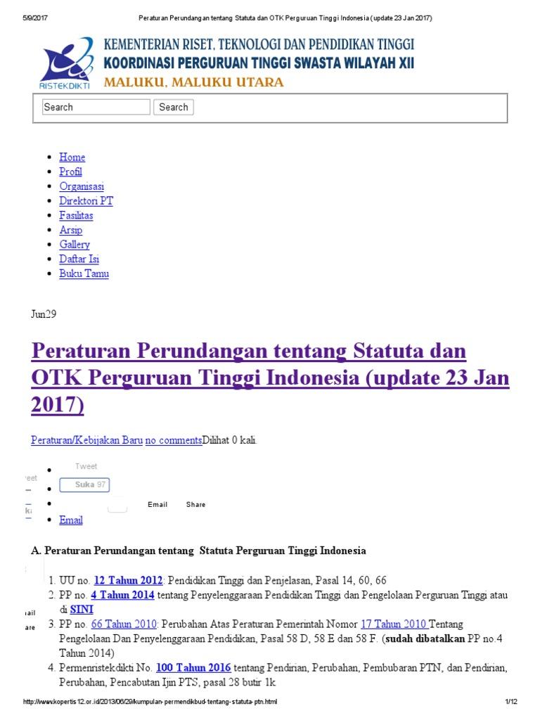Peraturan Perundangan Tentang Statuta Dan Otk Perguruan Tinggi Indonesia Update