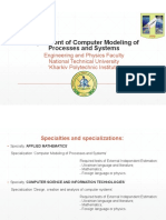 Department of Computer Modeling of Processes and Systems