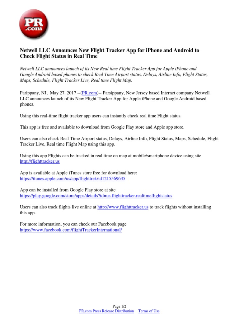 Netwell LLC Announces New Flight Tracker App for iPhone and