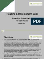 Housing Development Bank - Investor Relation Presentation Q2 -2015
