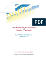 Our Province Our Future leaders' summit summary