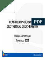 Halldor Armannsson Computer Programs in Geothermal Energy