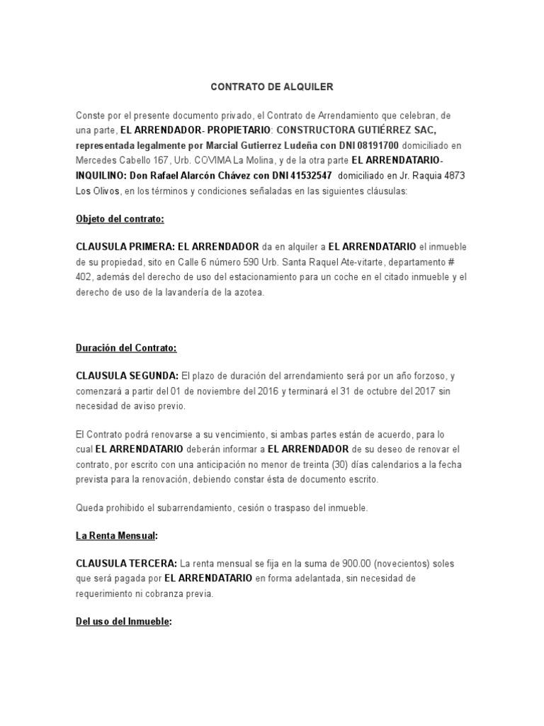 Formato Contrato De Alquiler 2017 Per