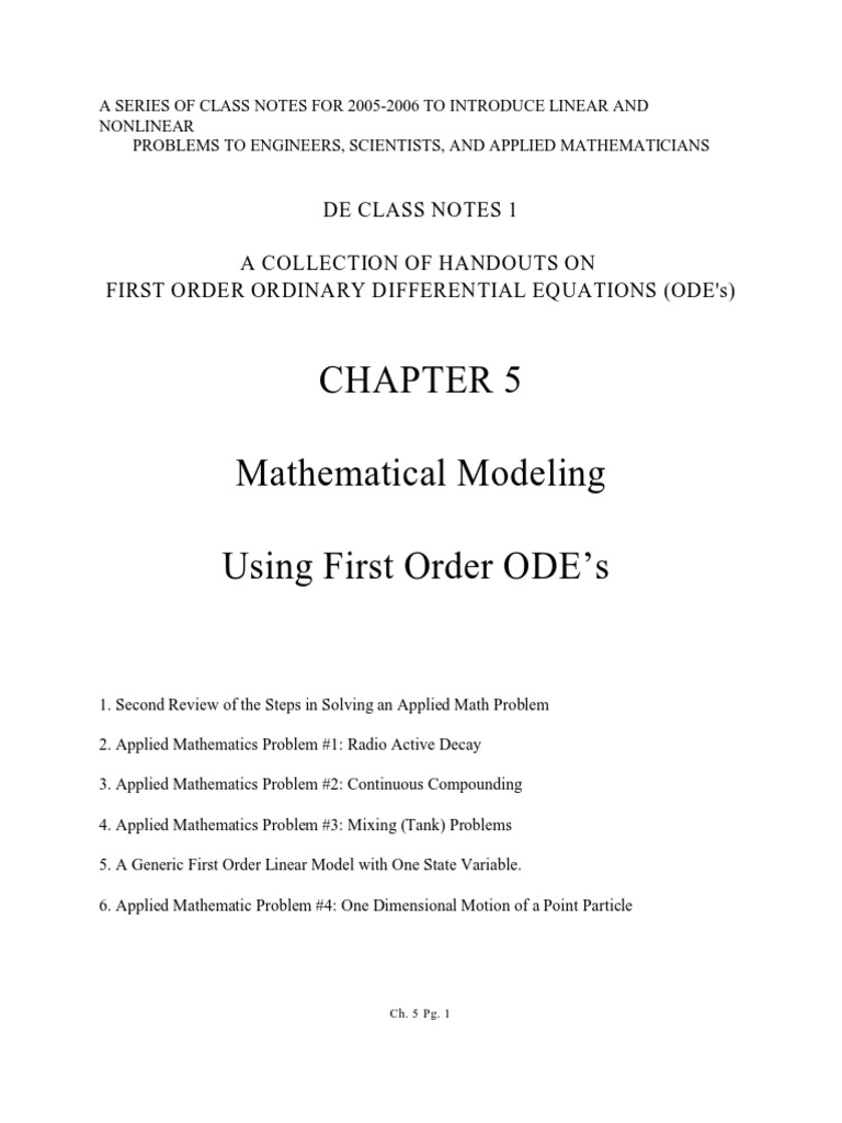 Mathematical Modeling Using First Order Diff Eqns pdf