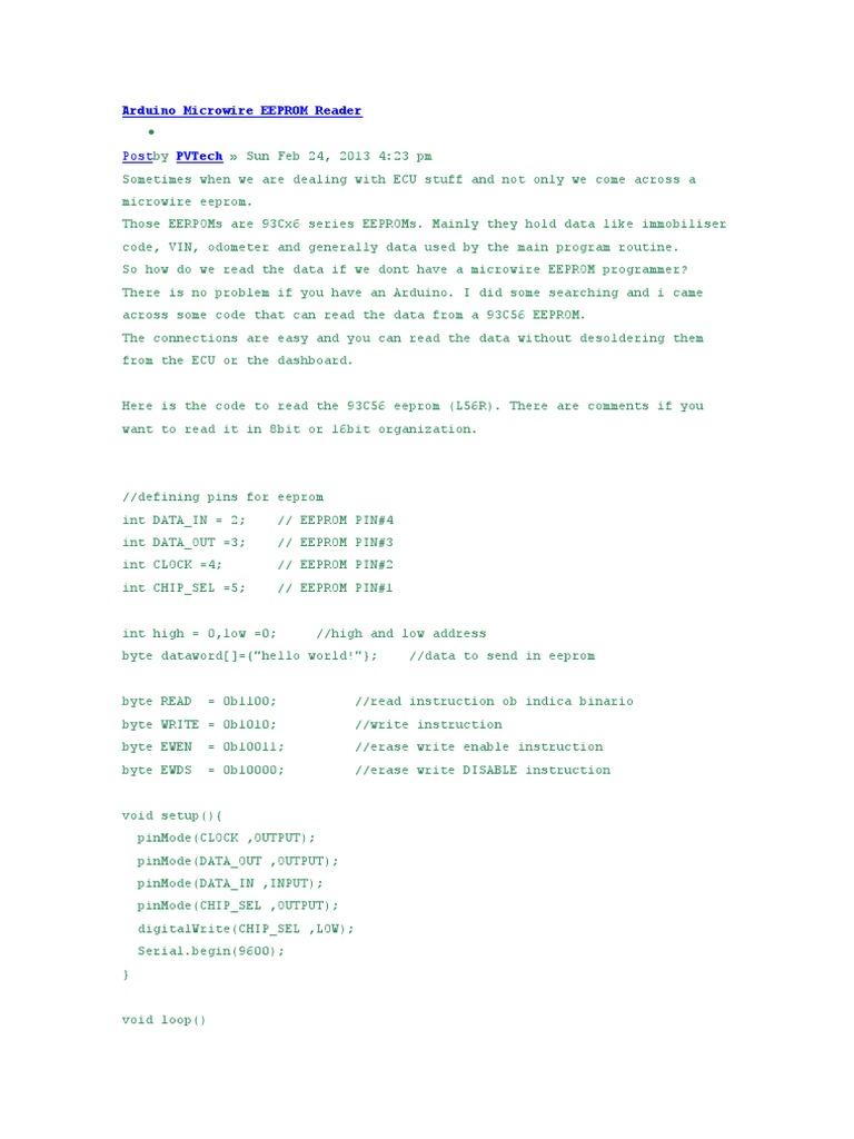 Arduino Microwire EEPROM Reader | Office Equipment | Digital