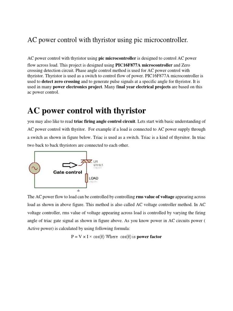 Ac Power Control With Thyristor Using Pic Microcontroller In Circuits Inductor