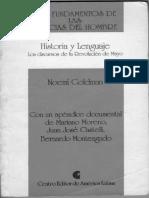 Goldman Noemí. Historia y Lenguaje, Los Discursos de La Revolución de Mayo. Completo