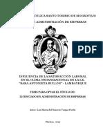CLIMA ORGANIZACIONAL EN ESTABLECIMIENTOS DE SALUD DE LA MICRORED VILLA EN EL AÑO 2014