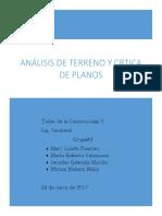Analísis Urbanístico y Crítica de Planos