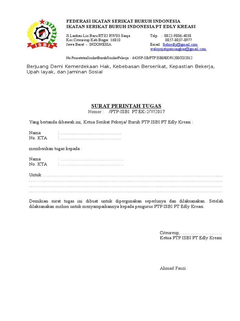 Surat Perintah Tugas Dinas Edly