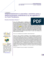 Empreendedorismo e parcerias caminhos para o desenvolvimento sustentável à luz da agenda 21 no Cariri Paraibano -