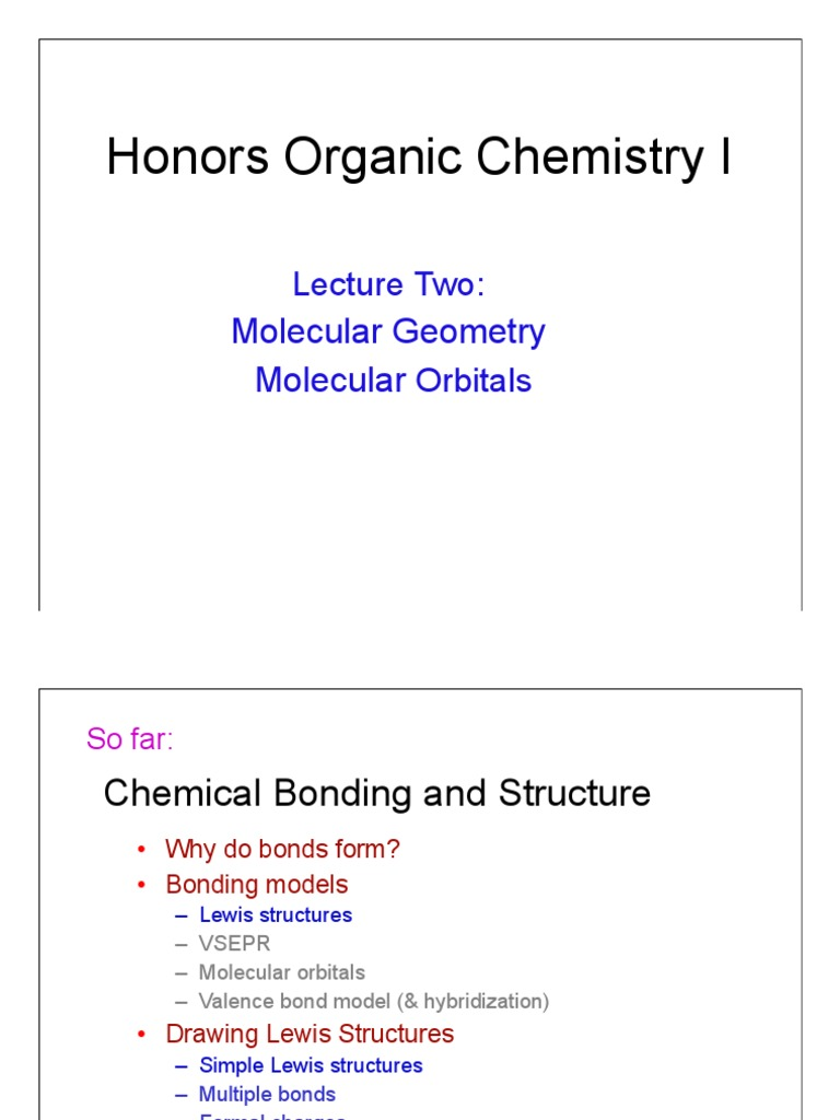 Organic Chemistry Lecture Two 2014 Bonding Models Chemical