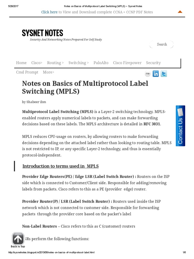 MPLS) _ Sysnet Notes | Multiprotocol Label Switching | Router