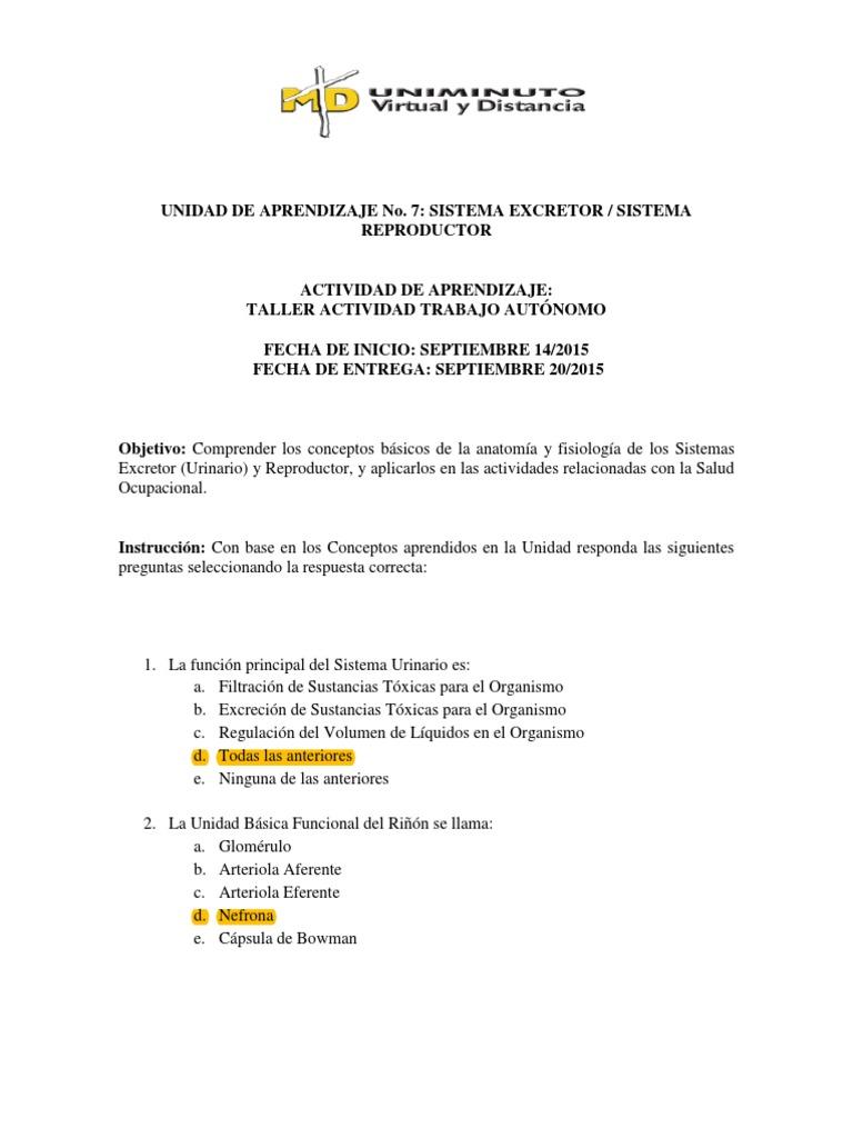 Cuestionario Unidad 7 - Sistema Excretor Sistema Reproductor