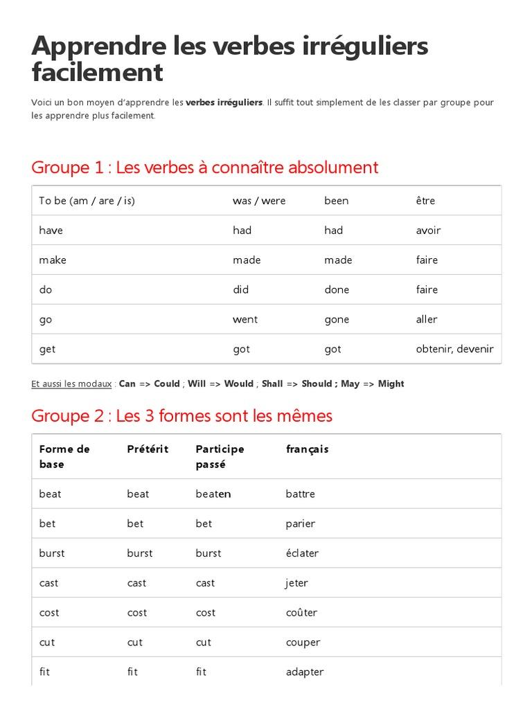 Apprendre Facilement Les Verbes Anglais Irriguliers Pdf Verbe Morphologie Linguistique