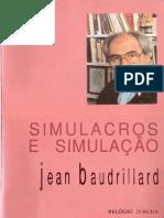 """""""Simulacros e Simulação"""" de Jean Baudrillard"""