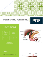 Recomendaciones Nutrimentales Litiasis, Higado Graso, Reflujo