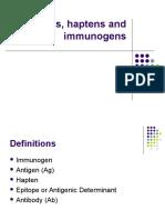 Antigens, Hapteins, Immunogens Lectures 10.1.06