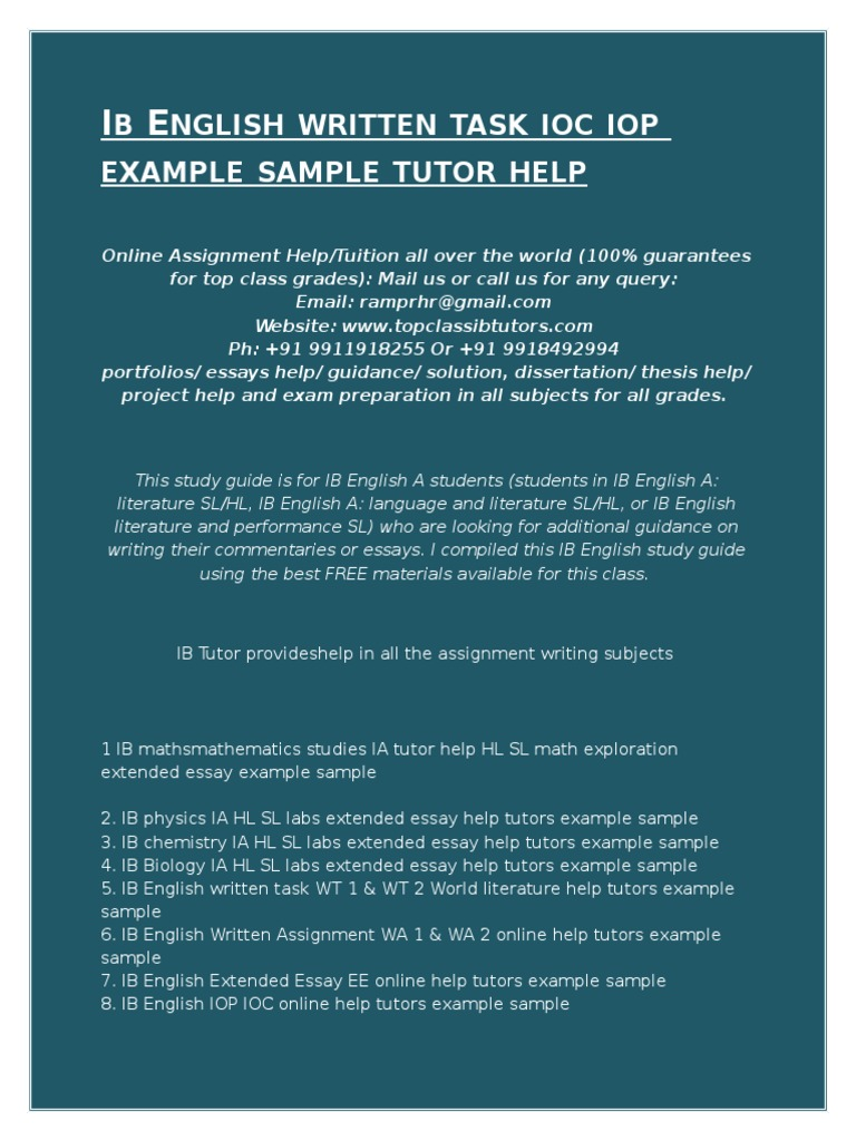 ib english essay As you prepare the extended essay, you will want to study several sample essays this will help give you an impression of the final product and an understanding of what is expected you can do a lot with a good sample for example you may want to focus on one specific criterion you may want to study its use of citation you may simply want to see what a good title page looks like.