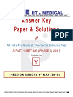 Aipmt _neet Ug Phase-i_ 2016 Question Paper & Solutions