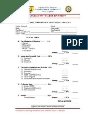 Teaching Performance Evaluation Checklist | Teaching Method