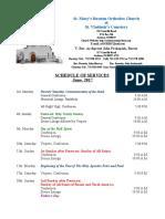 6. Schedule of Divine Services - June, 2017