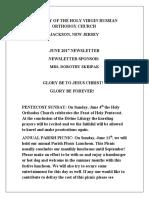 Nativity of the Holy Virgin Church - Newsletter - June, 2017