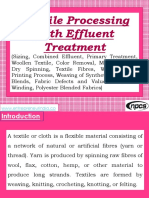 Textile Processing with Effluent Treatment (Sizing, Combined Effluent, Primary Treatment, Woollen Textile, Color Removal, Melt Spinning, Dry Spinning, Textile Fibres, Wool Fulling, Printing Process, Weaving of Synthetic Yarns and Blends, Fabric Defects and Value Loss, Pirn Winding, Polyester Blended Fabrics)