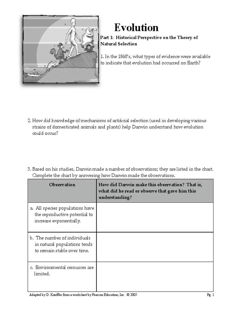 Worksheet Evolution Packet Natural Selection Evolution