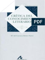 Crítica Del Conocimiento Literario - C. Bobes