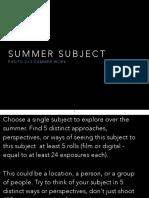 Summer Subject - Photo 2>3 Summer Assignment