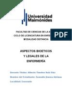 Bioetica y Legales Tercer Entrega