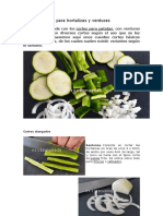 Tipos de Cortes Para Verduras y Pulpas de Frutas