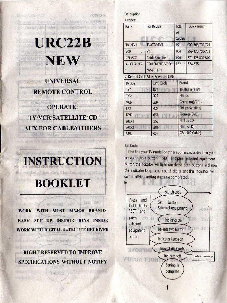 Urc22b Universal Remote Control Instruction Booklet
