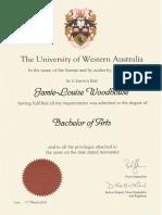uwa ba certificate