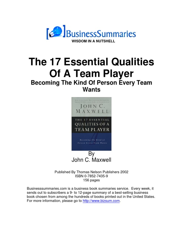 17 essential qualities of a team player pdf free download