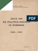 Zece ani de politică socială în România - 1920-1930