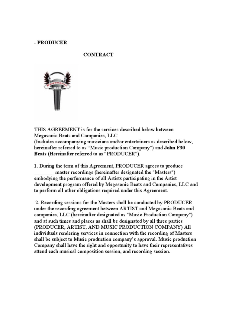 Music Production Company And Producer Contract 9 Intellectual