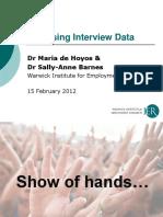 Analysing Interview Data 1 - w6