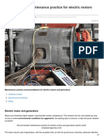 Recommended Maintenance Practice for Electric Motors and Generators