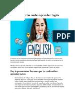 Razones Por Las Cuales Aprender Ingles