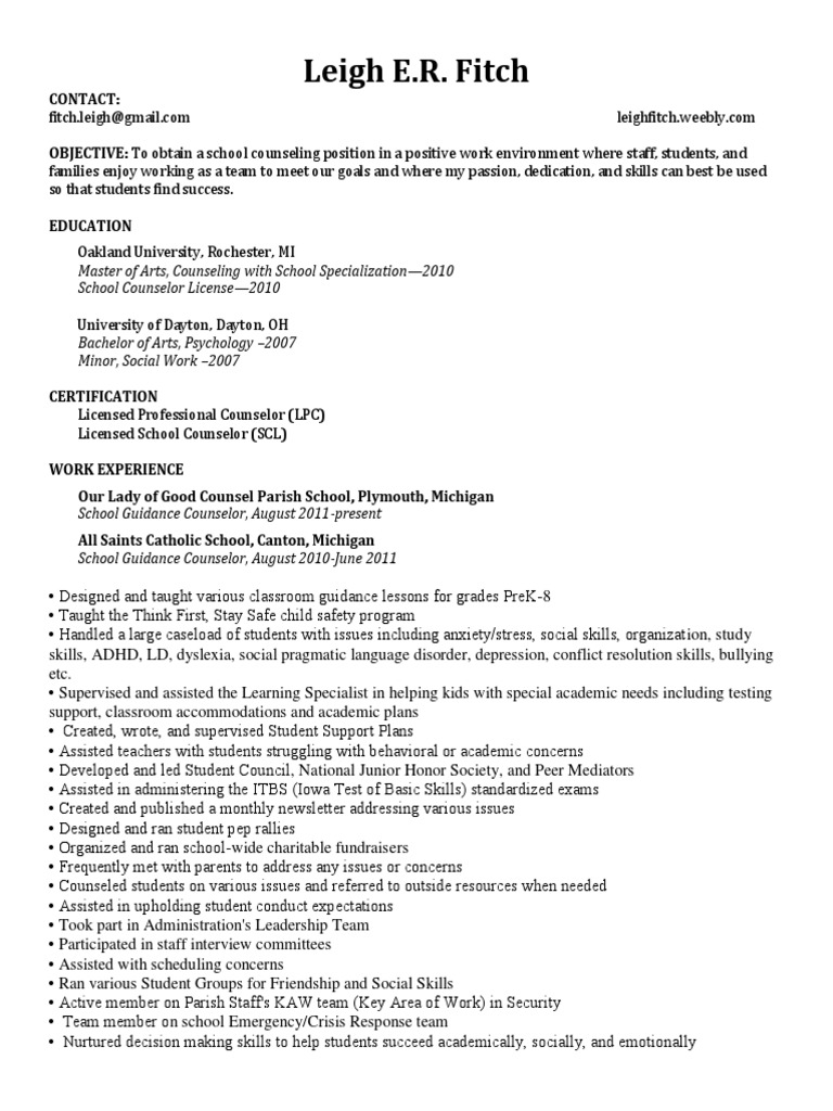 Leigh Fitch Resume May 2017 Online School Counselor Teachers