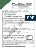 Class Xi Practice Paper 1