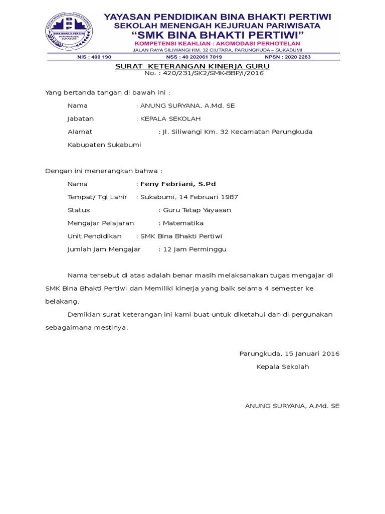 Surat Keterangan Kinerja Guru