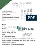 ACTIVIDADES DE LENGUA Y LITERATURA PARA 2do AÑO PROFESORA ROSANA ÁLVAREZ
