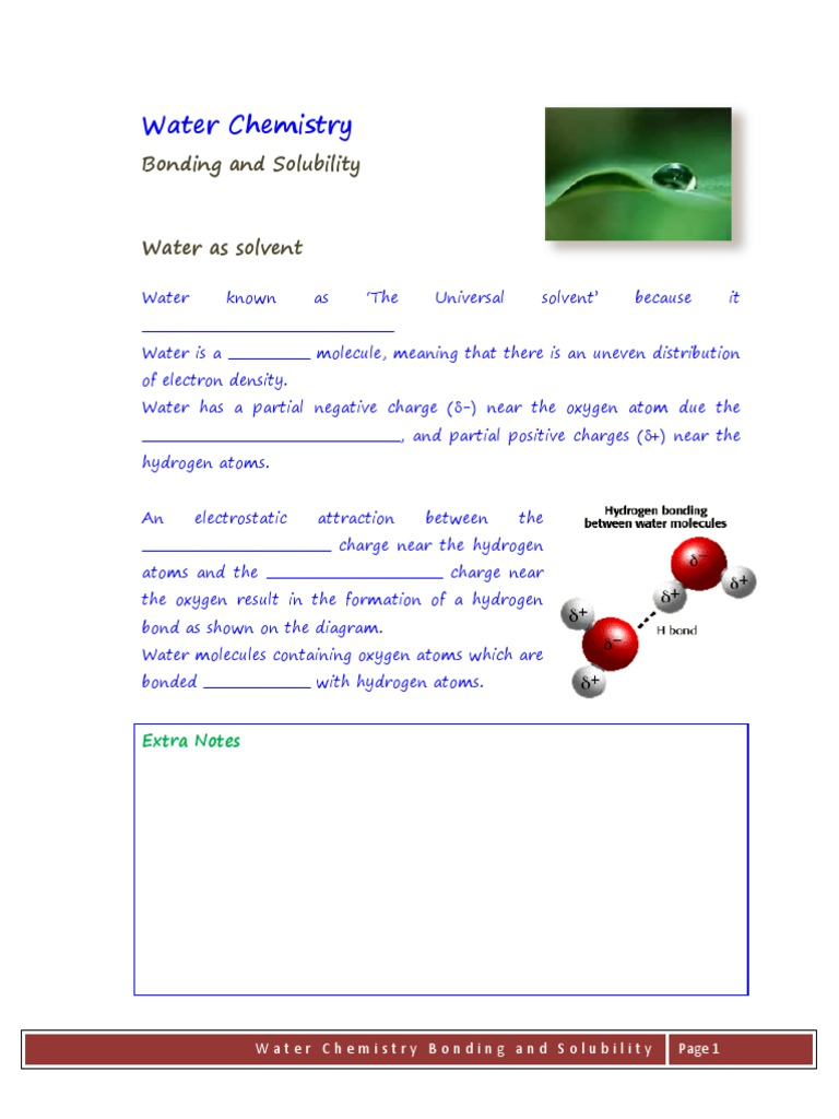 Bonding And Solubility Semi Notes Properties Of Water Chemical Bond Diagram Molecule