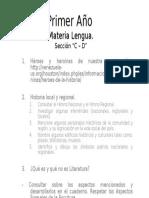 Actividades de Primer Año Secciones C-D Asignatura Lengua. Docente Zoraya Pineda