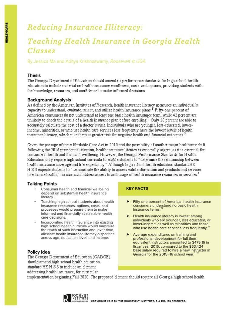 Reducing Insurance Illiteracy: Teaching Health Insurance in